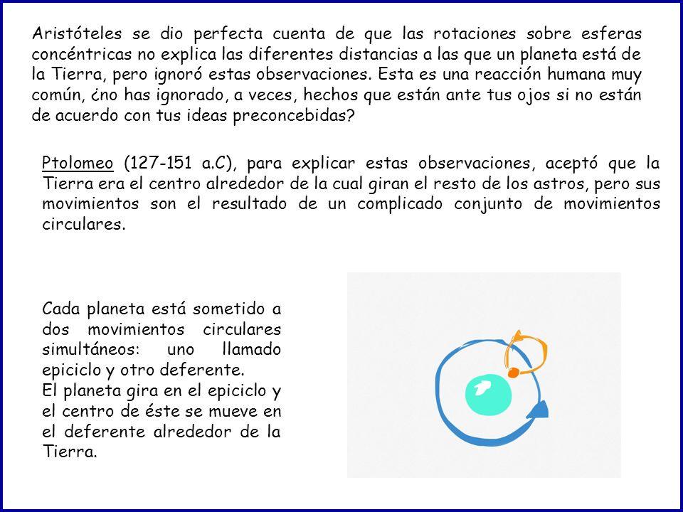 Aristóteles se dio perfecta cuenta de que las rotaciones sobre esferas concéntricas no explica las diferentes distancias a las que un planeta está de