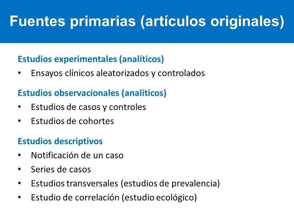 Estudios experimentales (analíticos) Ensayos clínicos aleatorizados y controlados Estudios observacionales (analíticos) Estudios de casos y controles
