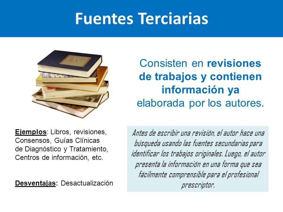 Fuentes Terciarias Consisten en revisiones de trabajos y contienen información ya elaborada por los autores. Ejemplos: Libros, revisiones, Consensos,