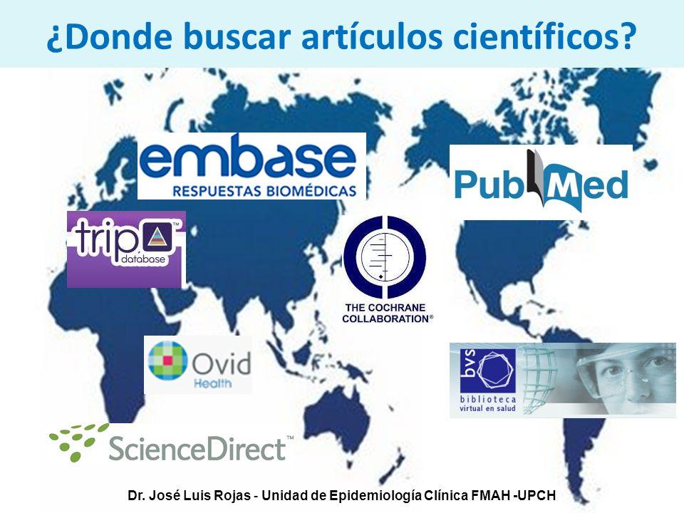 Dr. José Luis Rojas - Unidad de Epidemiología Clínica FMAH -UPCH ¿Donde buscar artículos científicos?