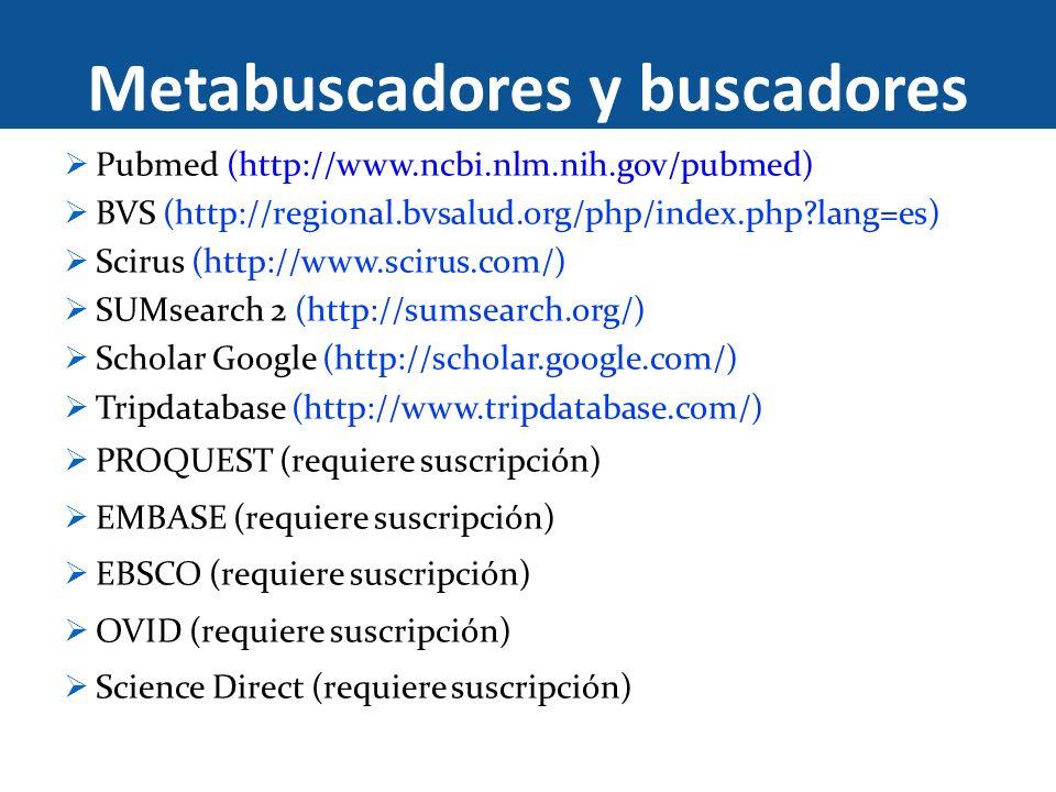 Metabuscadores y buscadores Pubmed (http://www.ncbi.nlm.nih.gov/pubmed) BVS (http://regional.bvsalud.org/php/index.php?lang=es) Scirus (http://www.sci