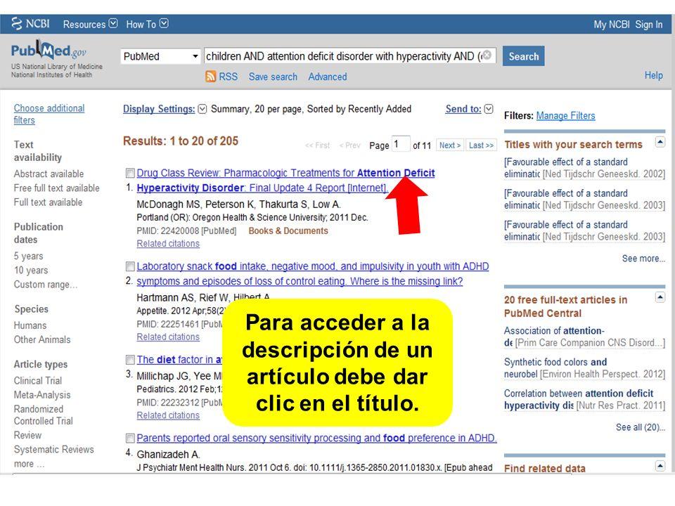Para acceder a la descripción de un artículo debe dar clic en el título.