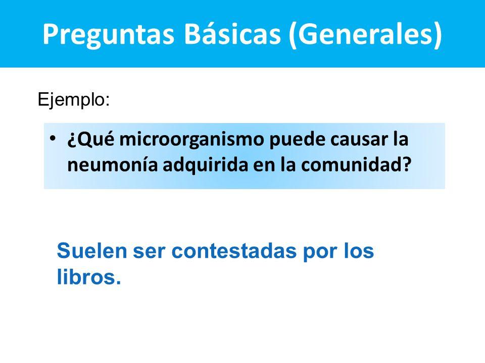 Preguntas Básicas (Generales) ¿Qué microorganismo puede causar la neumonía adquirida en la comunidad? Ejemplo: Suelen ser contestadas por los libros.