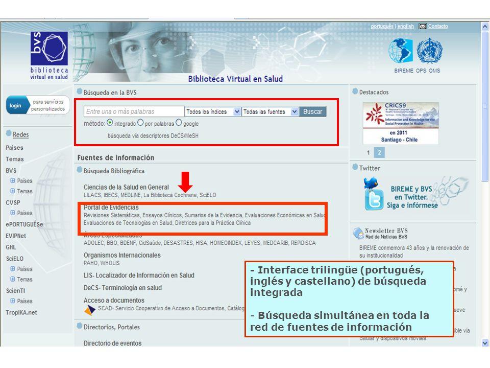 - Interface trilingüe (portugués, inglés y castellano) de búsqueda integrada - Búsqueda simultánea en toda la red de fuentes de información