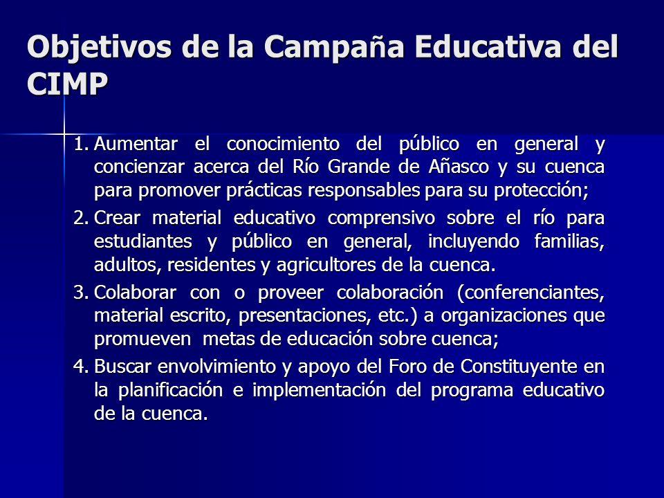 Objetivos de la Campa ñ a Educativa del CIMP 1.Aumentar el conocimiento del público en general y concienzar acerca del Río Grande de Añasco y su cuenc