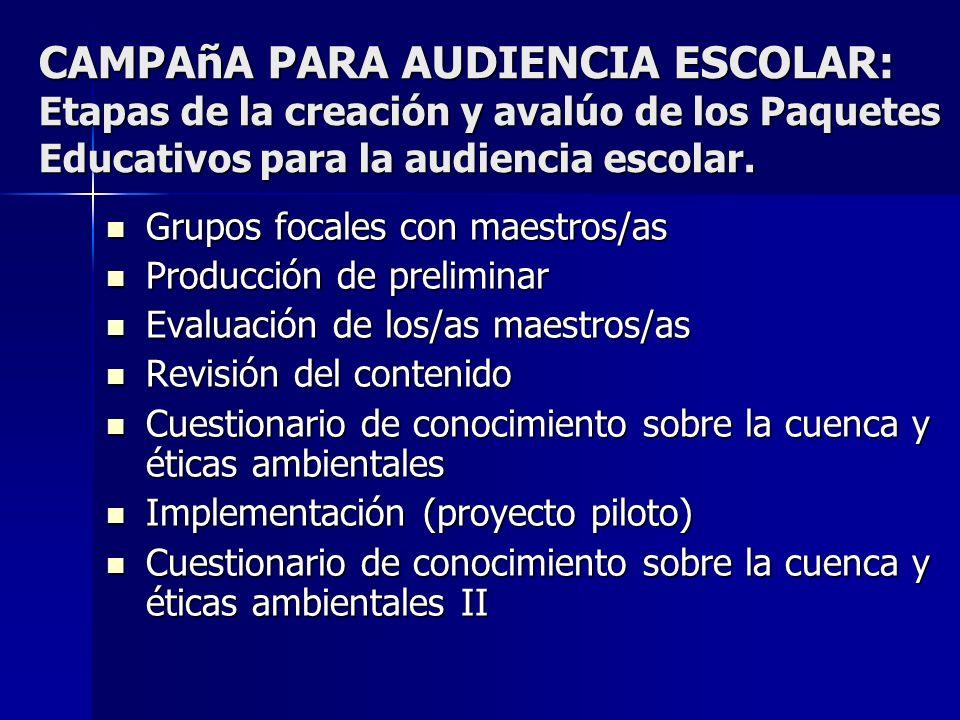 CAMPAñA PARA AUDIENCIA ESCOLAR: Etapas de la creación y avalúo de los Paquetes Educativos para la audiencia escolar.