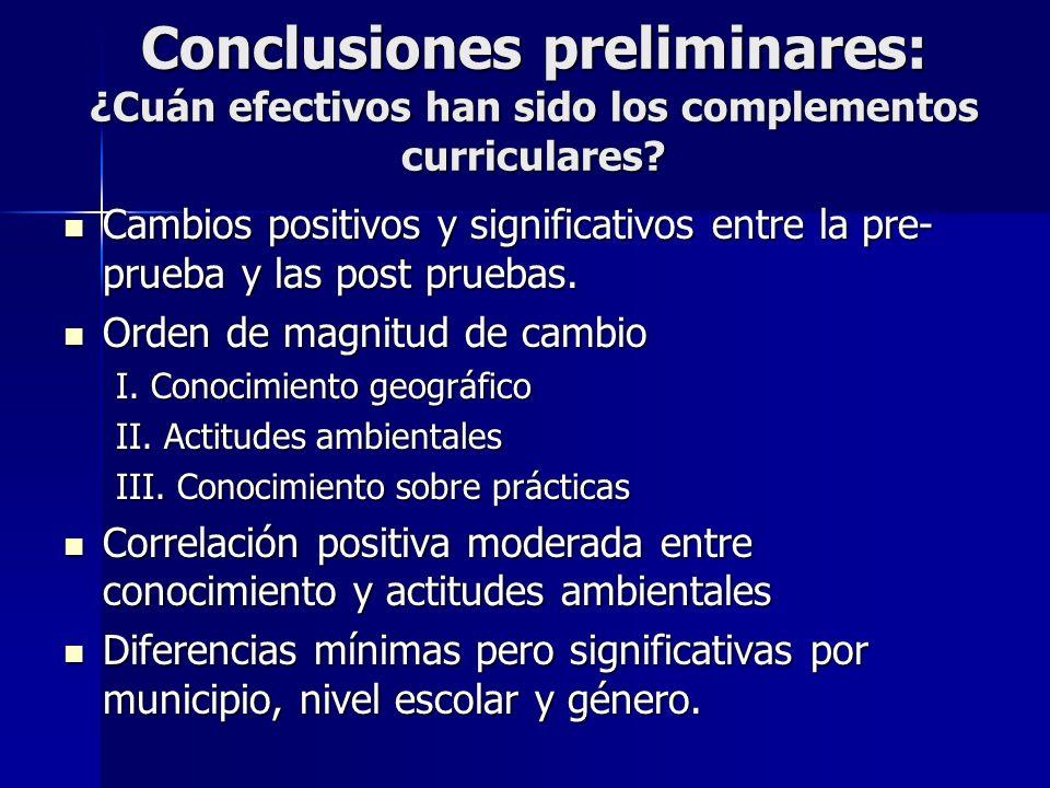 Conclusiones preliminares: ¿Cuán efectivos han sido los complementos curriculares? Cambios positivos y significativos entre la pre- prueba y las post