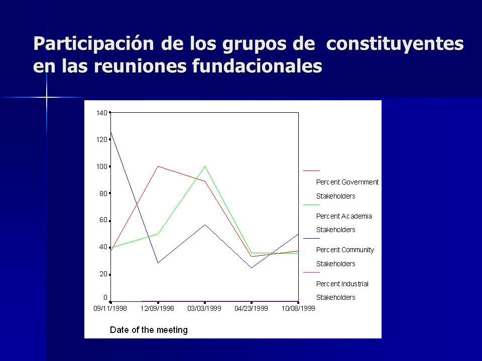 Participación de los grupos de constituyentes en las reuniones fundacionales