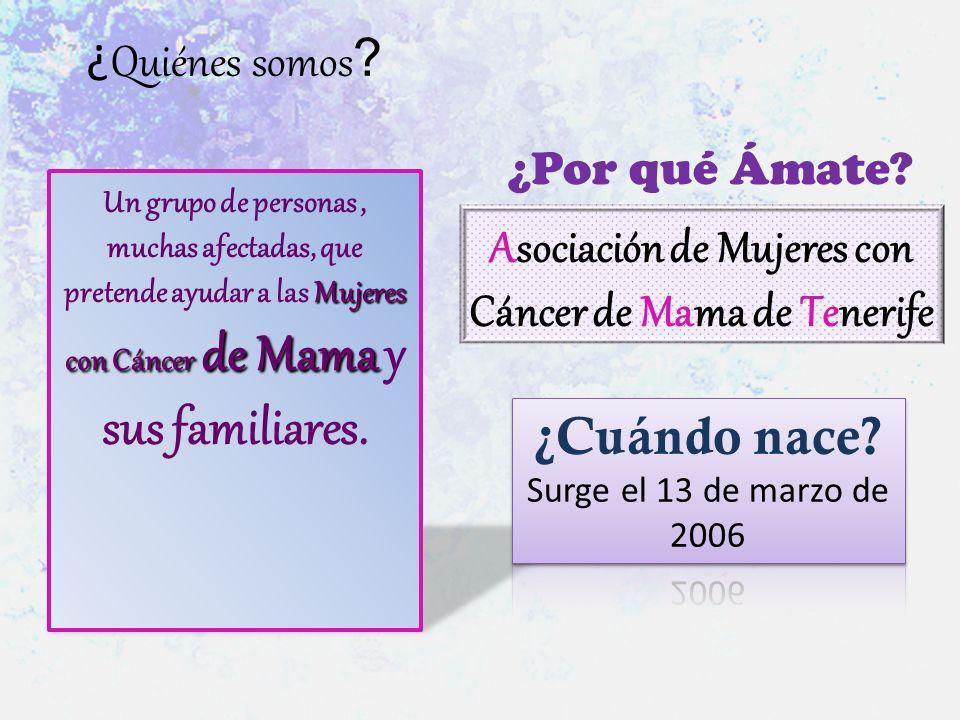 ¿ Quiénes somos ? Mujeres con Cáncer de Mama Un grupo de personas, muchas afectadas, que pretende ayudar a las Mujeres con Cáncer de Mama y sus famili