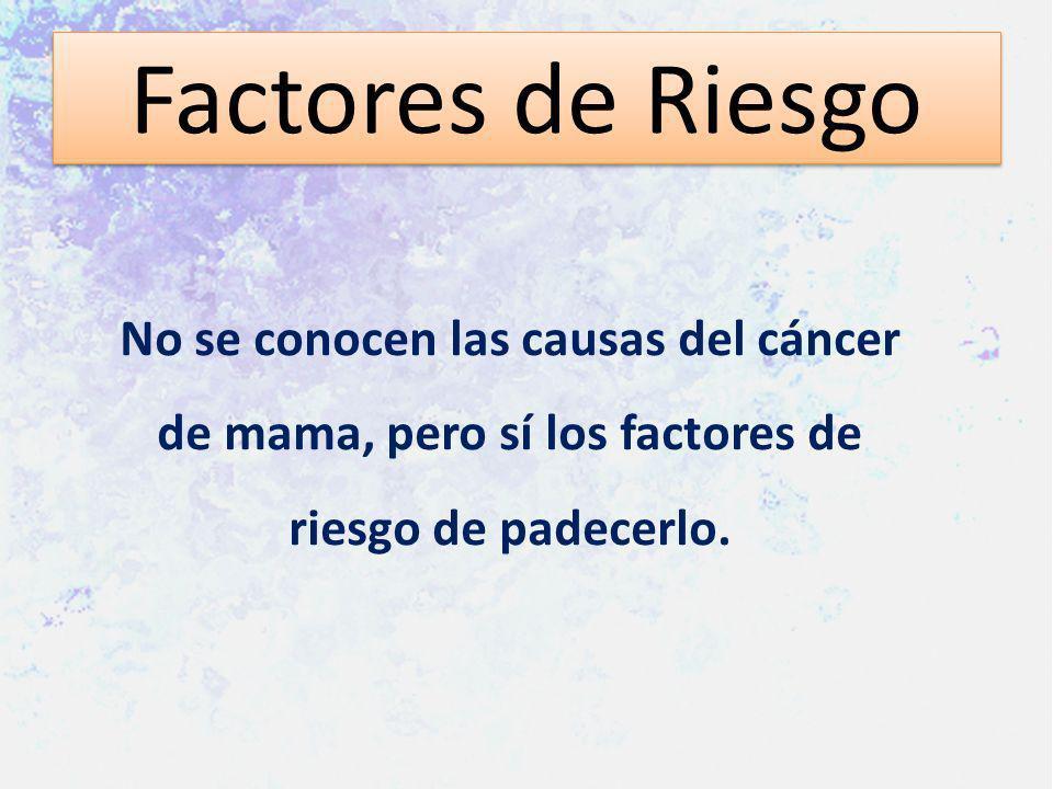 Factores de Riesgo No se conocen las causas del cáncer de mama, pero sí los factores de riesgo de padecerlo.