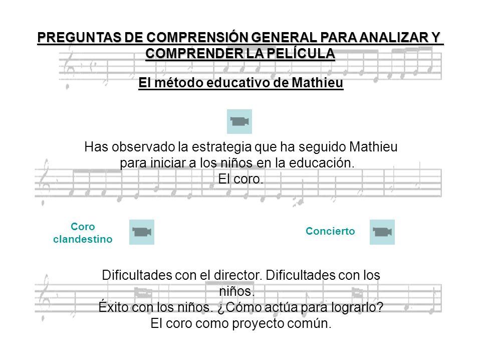 El método educativo de Mathieu Has observado la estrategia que ha seguido Mathieu para iniciar a los niños en la educación. El coro. Dificultades con