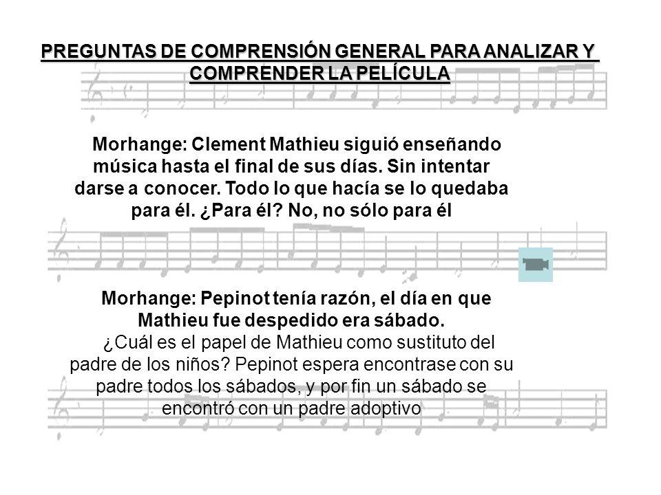 Morhange: Clement Mathieu siguió enseñando música hasta el final de sus días. Sin intentar darse a conocer. Todo lo que hacía se lo quedaba para él. ¿
