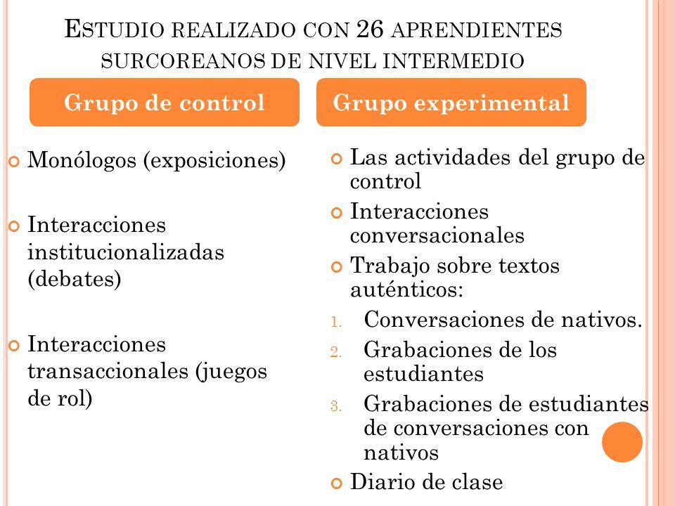 E STUDIO REALIZADO CON 26 APRENDIENTES SURCOREANOS DE NIVEL INTERMEDIO Monólogos (exposiciones) Interacciones institucionalizadas (debates) Interaccio