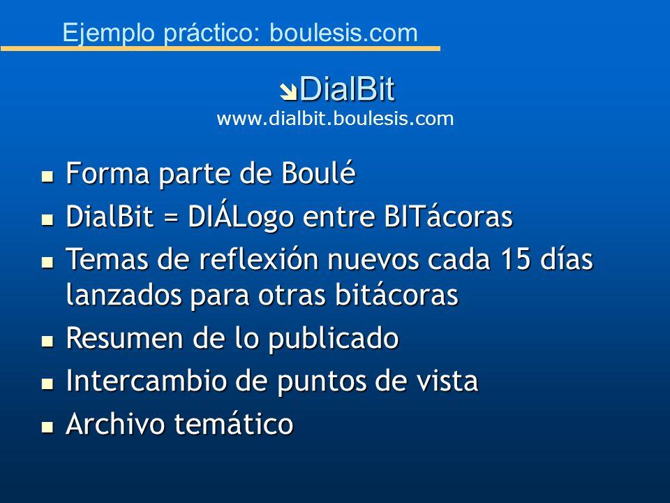 Ejemplo práctico: boulesis.com Forma parte de Boulé Forma parte de Boulé DialBit = DIÁLogo entre BITácoras DialBit = DIÁLogo entre BITácoras Temas de
