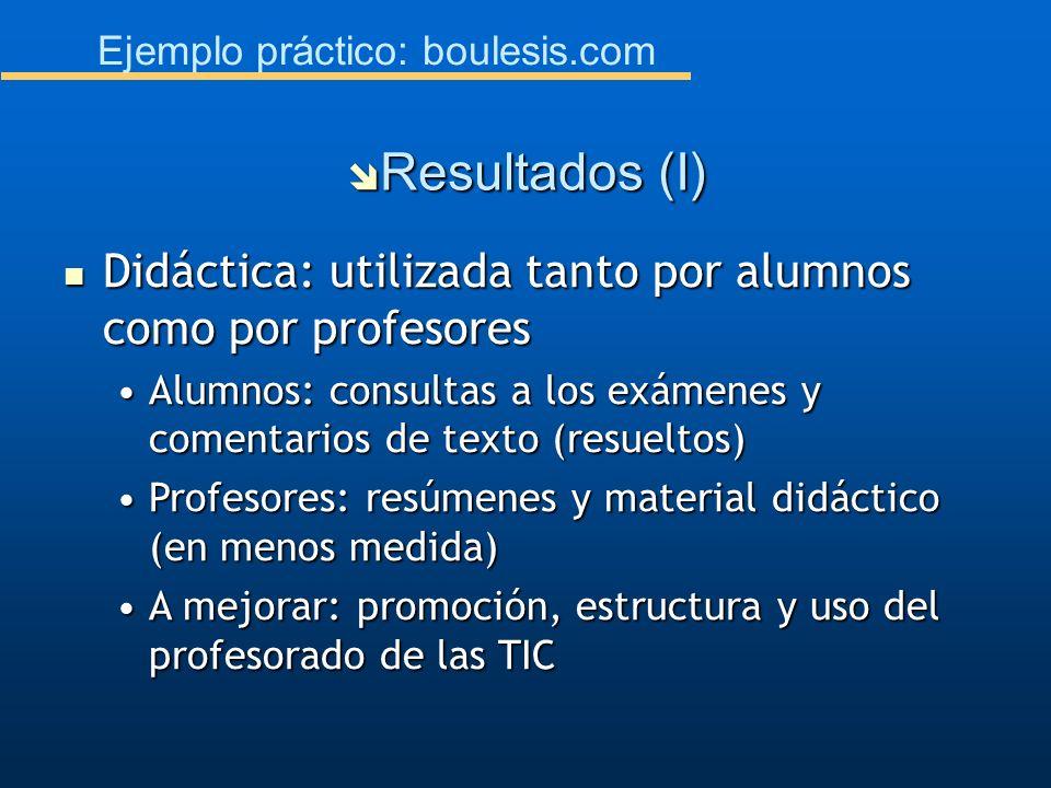 Ejemplo práctico: boulesis.com Didáctica: utilizada tanto por alumnos como por profesores Didáctica: utilizada tanto por alumnos como por profesores A