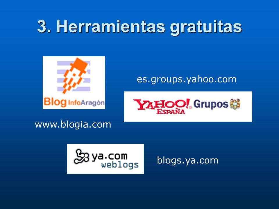 3. Herramientas gratuitas www.blogia.com es.groups.yahoo.com blogs.ya.com