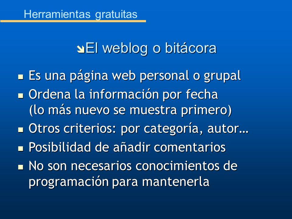 Herramientas gratuitas Es una página web personal o grupal Es una página web personal o grupal Ordena la información por fecha (lo más nuevo se muestr