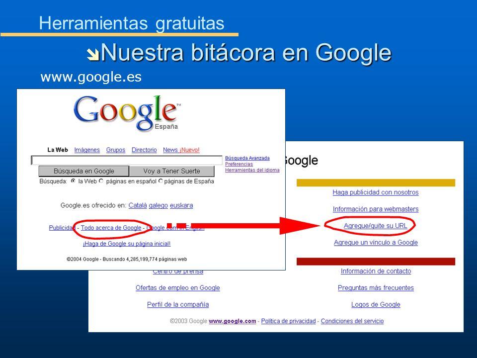 Herramientas gratuitas Nuestra bitácora en Google Nuestra bitácora en Google www.google.es