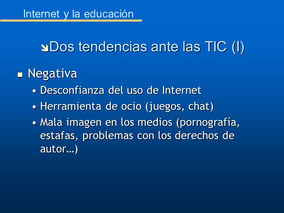 Internet y la educación Negativa Negativa Desconfianza del uso de InternetDesconfianza del uso de Internet Herramienta de ocio (juegos, chat)Herramien