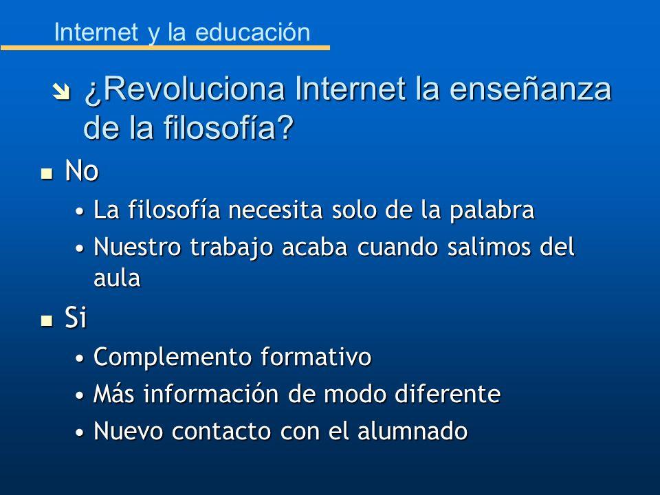 Internet y la educación No No La filosofía necesita solo de la palabraLa filosofía necesita solo de la palabra Nuestro trabajo acaba cuando salimos de