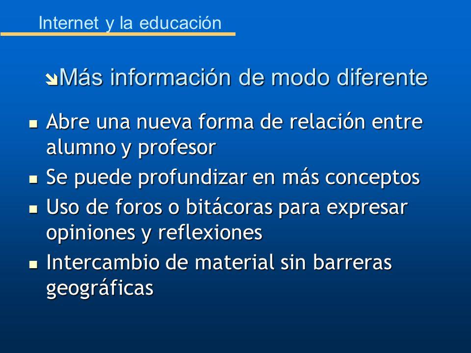 Internet y la educación Abre una nueva forma de relación entre alumno y profesor Abre una nueva forma de relación entre alumno y profesor Se puede pro