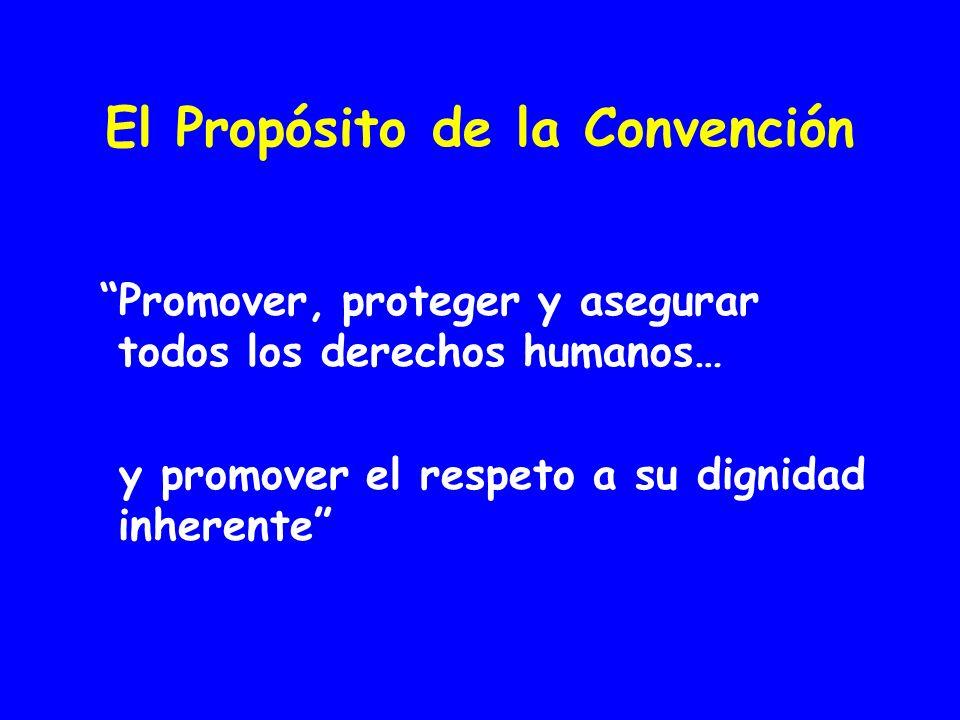 El Propósito de la Convención Promover, proteger y asegurar todos los derechos humanos… y promover el respeto a su dignidad inherente