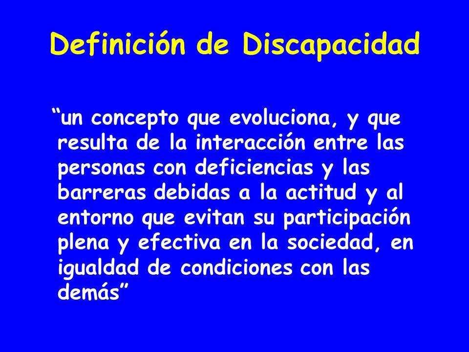 Definición de Discapacidad un concepto que evoluciona, y que resulta de la interacción entre las personas con deficiencias y las barreras debidas a la actitud y al entorno que evitan su participación plena y efectiva en la sociedad, en igualdad de condiciones con las demás