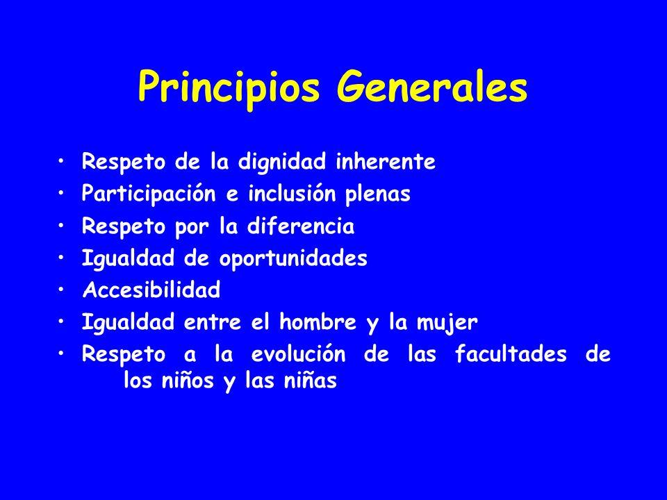 Principios Generales Respeto de la dignidad inherente Participación e inclusión plenas Respeto por la diferencia Igualdad de oportunidades Accesibilidad Igualdad entre el hombre y la mujer Respeto a la evolución de las facultades de los niños y las niñas