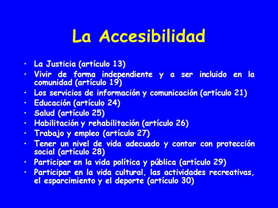 La Accesibilidad La Justicia (artículo 13) Vivir de forma independiente y a ser incluido en la comunidad (artículo 19) Los servicios de información y comunicación (artículo 21) Educación (artículo 24) Salud (artículo 25) Habilitación y rehabilitación (artículo 26) Trabajo y empleo (artículo 27) Tener un nivel de vida adecuado y contar con protección social (artículo 28) Participar en la vida política y pública (artículo 29) Participar en la vida cultural, las actividades recreativas, el esparcimiento y el deporte (artículo 30)