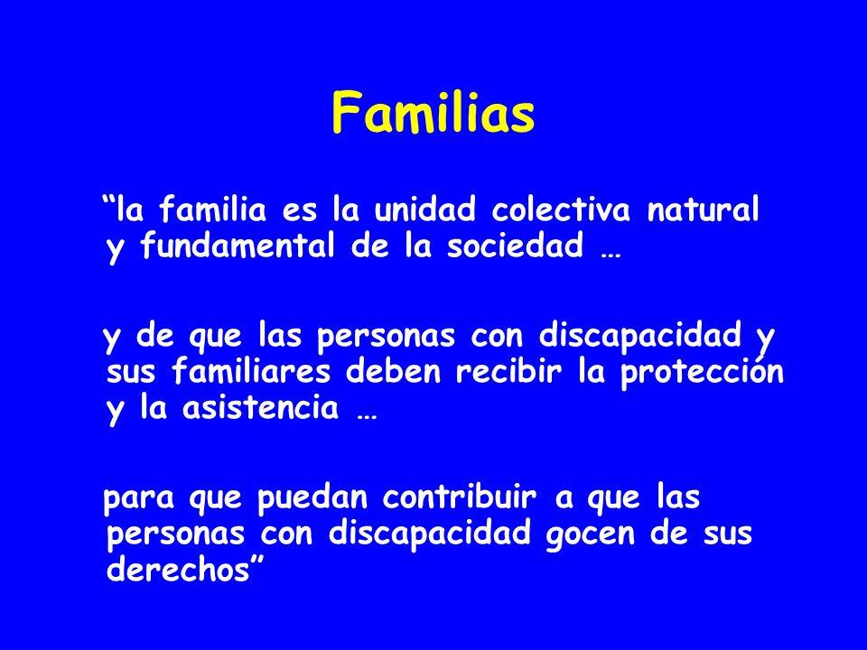 Familias la familia es la unidad colectiva natural y fundamental de la sociedad … y de que las personas con discapacidad y sus familiares deben recibir la protección y la asistencia … para que puedan contribuir a que las personas con discapacidad gocen de sus derechos