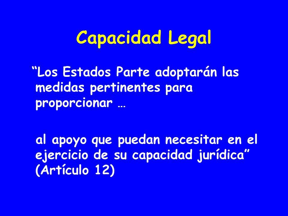 Capacidad Legal Los Estados Parte adoptarán las medidas pertinentes para proporcionar … al apoyo que puedan necesitar en el ejercicio de su capacidad jurídica (Artículo 12)