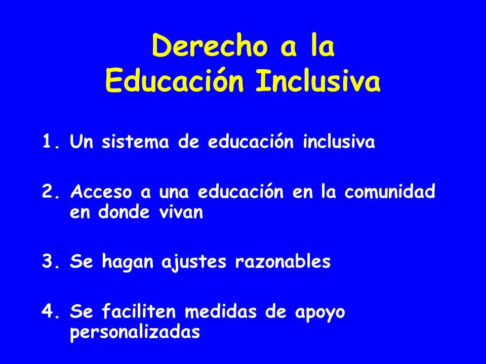 Derecho a la Educación Inclusiva 1.Un sistema de educación inclusiva 2.Acceso a una educación en la comunidad en donde vivan 3.Se hagan ajustes razonables 4.Se faciliten medidas de apoyo personalizadas