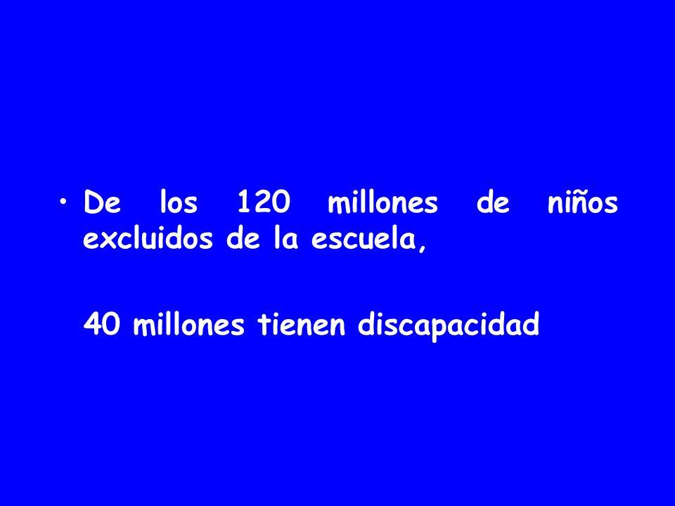 De los 120 millones de niños excluidos de la escuela, 40 millones tienen discapacidad
