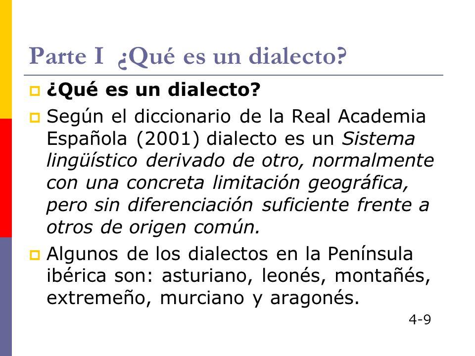 Parte I ¿Qué es un dialecto? ¿Qué es un dialecto? Según el diccionario de la Real Academia Española (2001) dialecto es un Sistema lingüístico derivado