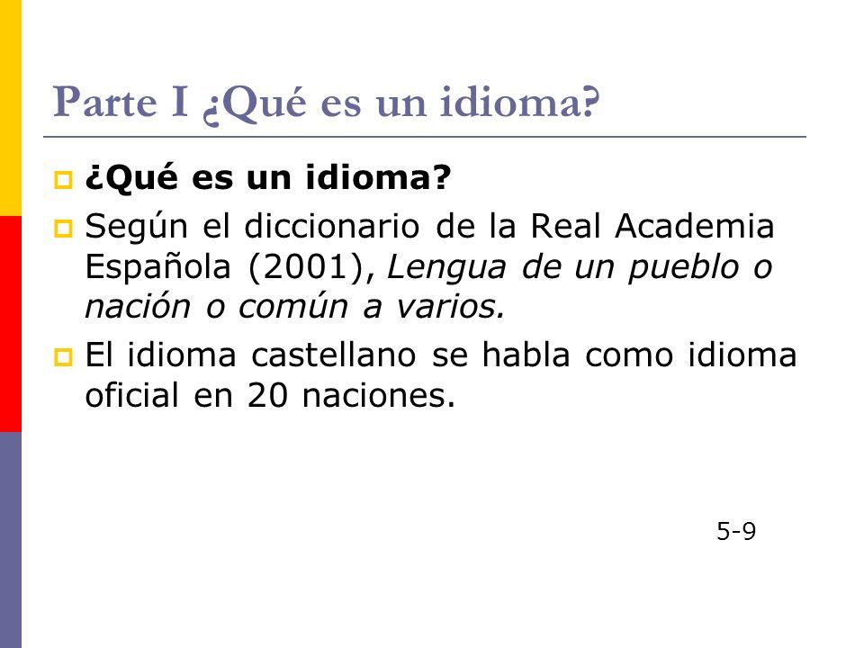 Parte I ¿Qué es un idioma? ¿Qué es un idioma? Según el diccionario de la Real Academia Española (2001), Lengua de un pueblo o nación o común a varios.