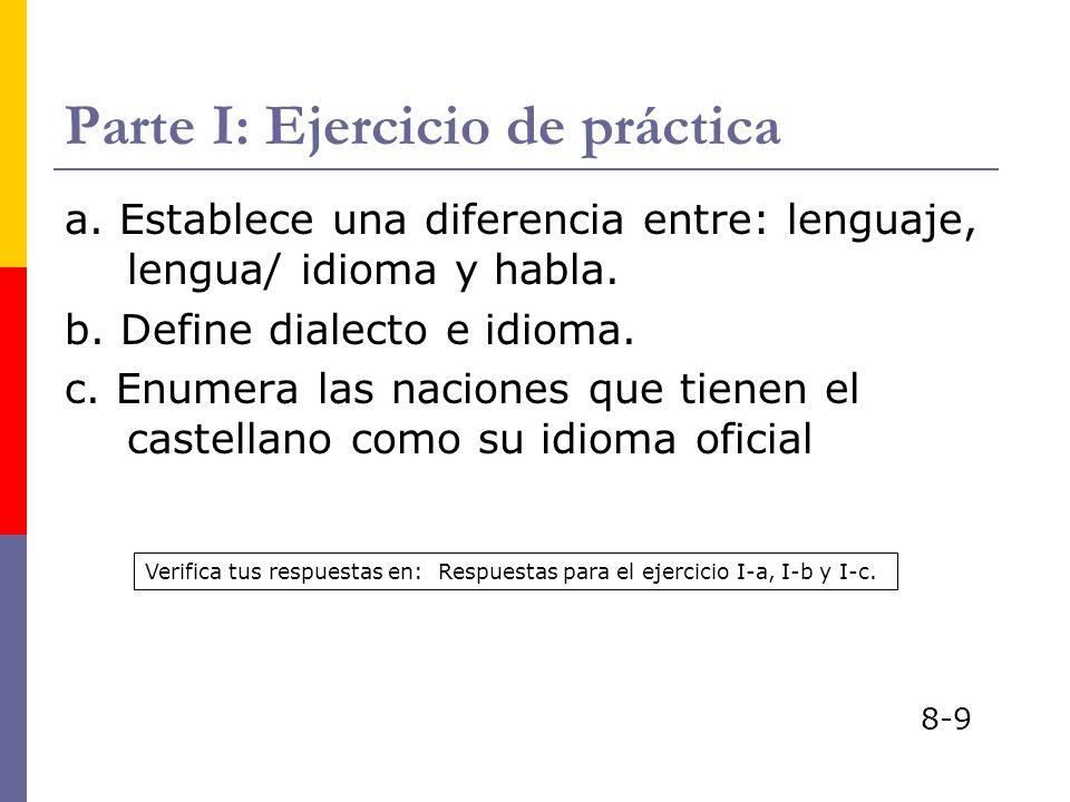 Parte I: Ejercicio de práctica a. Establece una diferencia entre: lenguaje, lengua/ idioma y habla. b. Define dialecto e idioma. c. Enumera las nacion