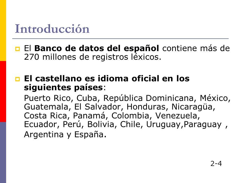 Introducción El Banco de datos del español contiene más de 270 millones de registros léxicos. El castellano es idioma oficial en los siguientes países