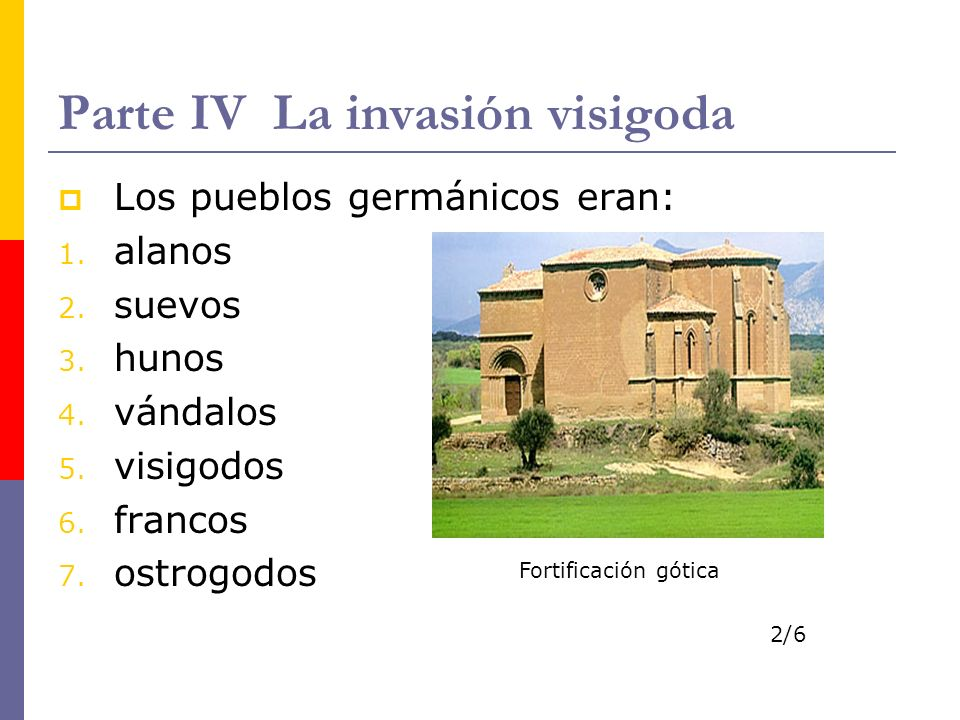 Parte IV La invasión visigoda Los pueblos germánicos eran: 1. alanos 2. suevos 3. hunos 4. vándalos 5. visigodos 6. francos 7. ostrogodos Fortificació