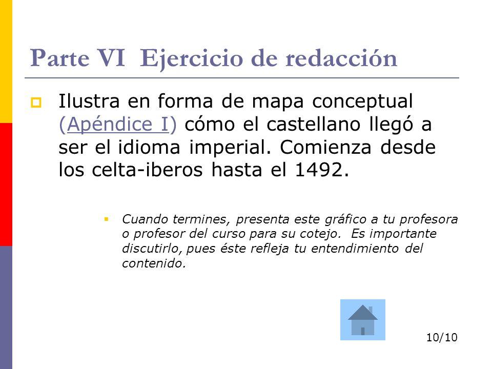 Parte VI Ejercicio de redacción Ilustra en forma de mapa conceptual (Apéndice I) cómo el castellano llegó a ser el idioma imperial. Comienza desde los