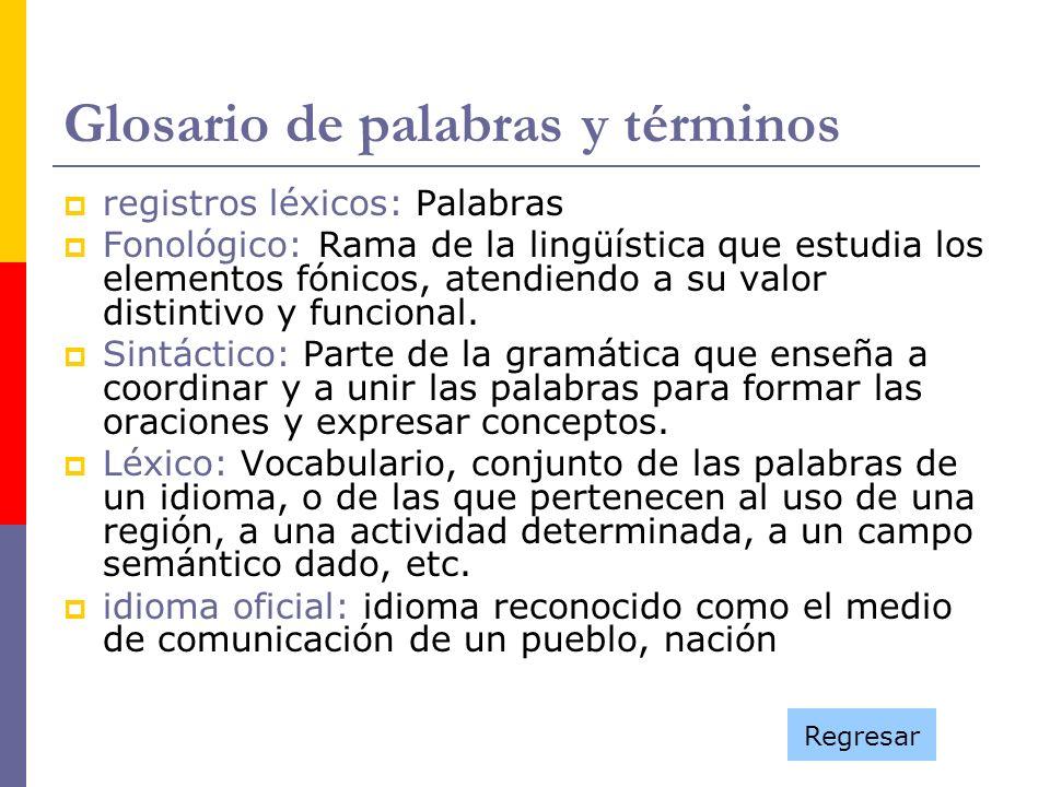 Glosario de palabras y términos registros léxicos: Palabras Fonológico: Rama de la lingüística que estudia los elementos fónicos, atendiendo a su valo