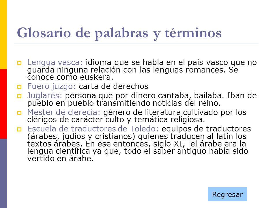 Glosario de palabras y términos Lengua vasca: idioma que se habla en el país vasco que no guarda ninguna relación con las lenguas romances. Se conoce