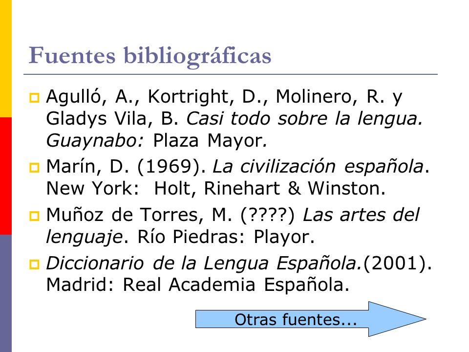 Fuentes bibliográficas Agulló, A., Kortright, D., Molinero, R. y Gladys Vila, B. Casi todo sobre la lengua. Guaynabo: Plaza Mayor. Marín, D. (1969). L