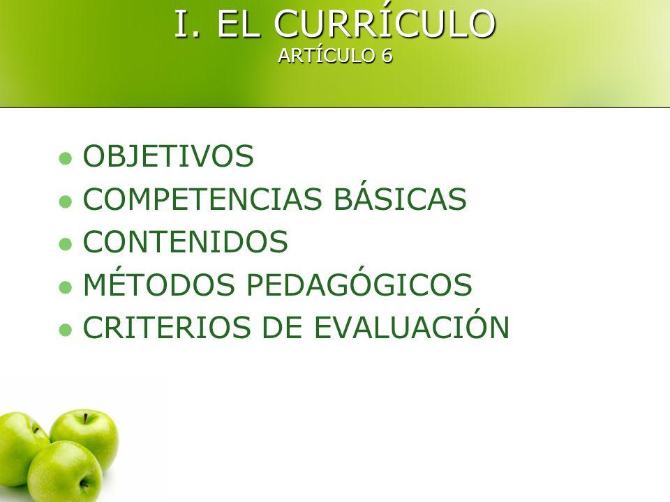 I. EL CURRÍCULO ARTÍCULO 6 OBJETIVOS COMPETENCIAS BÁSICAS CONTENIDOS MÉTODOS PEDAGÓGICOS CRITERIOS DE EVALUACIÓN