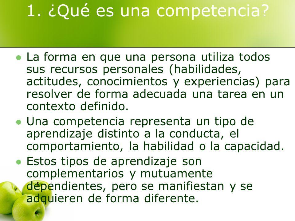 1. ¿Qué es una competencia? La forma en que una persona utiliza todos sus recursos personales (habilidades, actitudes, conocimientos y experiencias) p