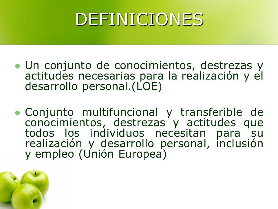 DEFINICIONES Un conjunto de conocimientos, destrezas y actitudes necesarias para la realización y el desarrollo personal.(LOE) Conjunto multifuncional