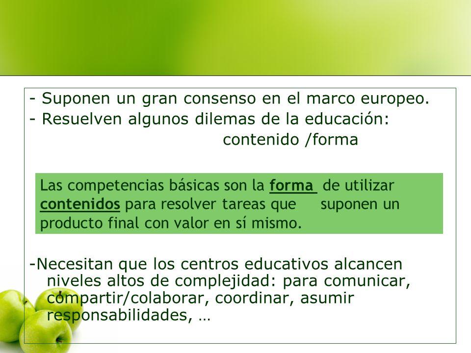 - Suponen un gran consenso en el marco europeo. - Resuelven algunos dilemas de la educación: contenido /forma -Necesitan que los centros educativos al