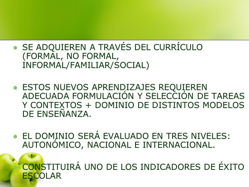 SE ADQUIEREN A TRAVÉS DEL CURRÍCULO (FORMAL, NO FORMAL, INFORMAL/FAMILIAR/SOCIAL) ESTOS NUEVOS APRENDIZAJES REQUIEREN ADECUADA FORMULACIÓN Y SELECCIÓN DE TAREAS Y CONTEXTOS + DOMINIO DE DISTINTOS MODELOS DE ENSEÑANZA.