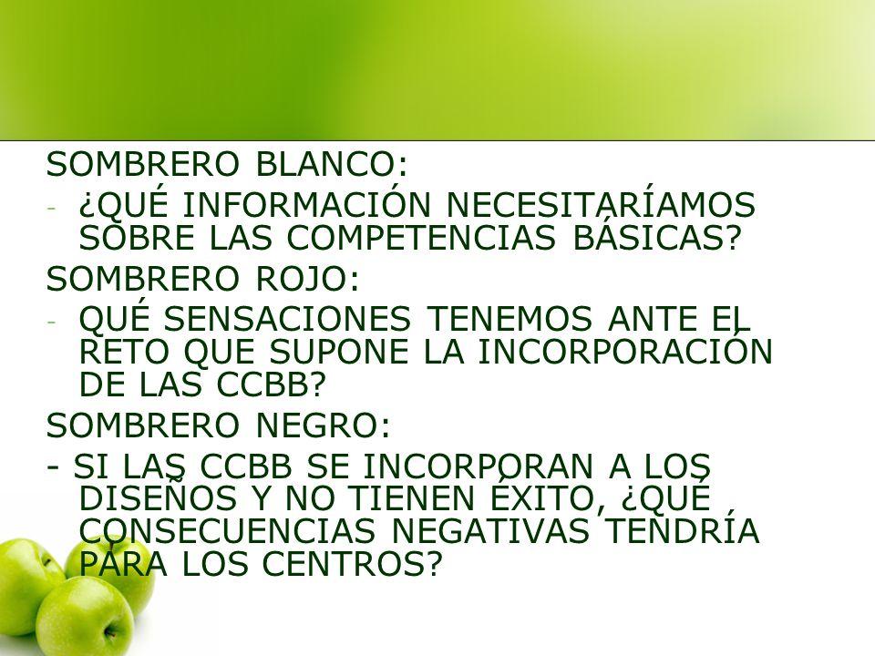 SOMBRERO BLANCO: - ¿QUÉ INFORMACIÓN NECESITARÍAMOS SOBRE LAS COMPETENCIAS BÁSICAS.