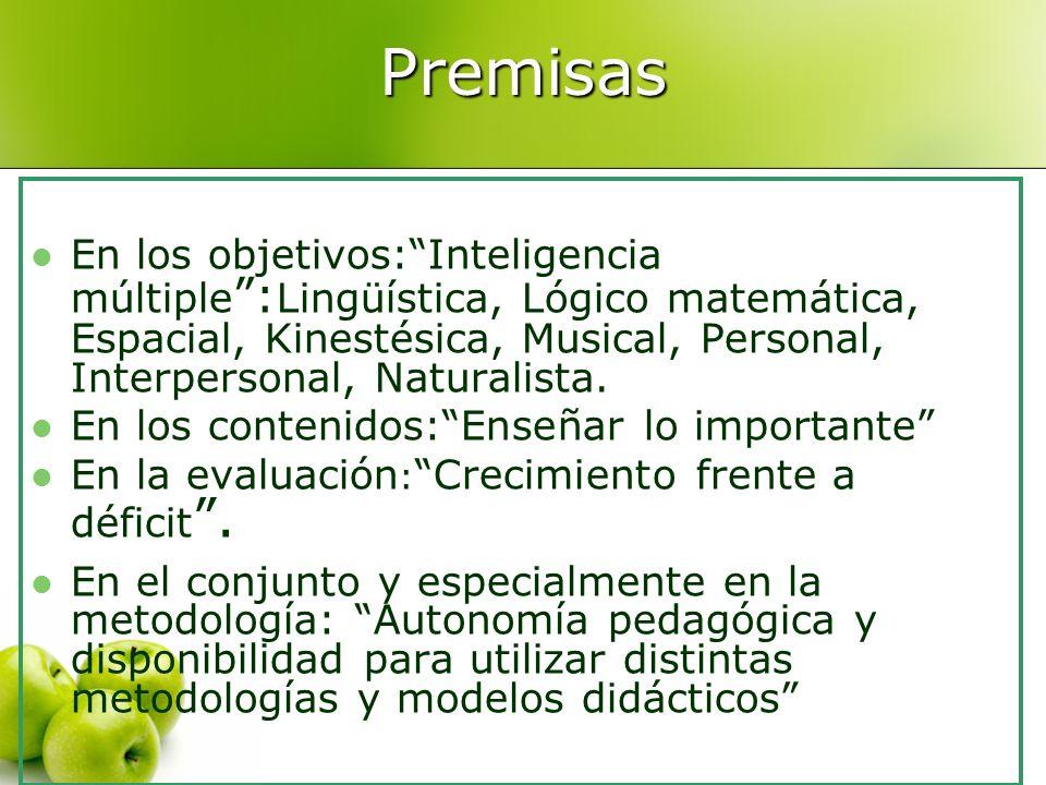 Premisas En los objetivos:Inteligencia múltiple : Lingüística, Lógico matemática, Espacial, Kinestésica, Musical, Personal, Interpersonal, Naturalista.