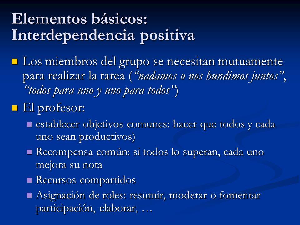 Elementos básicos: Interdependencia positiva Los miembros del grupo se necesitan mutuamente para realizar la tarea (nadamos o nos hundimos juntos, tod